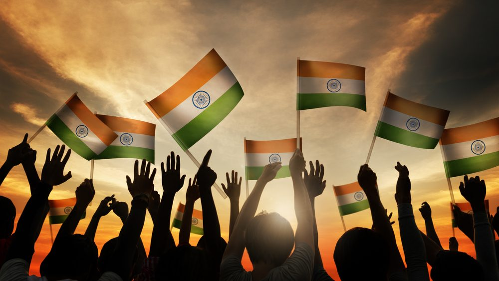 waving flag of India