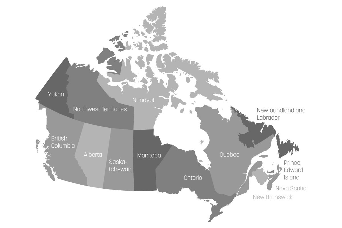 Canadian provinces and territories grey and white map