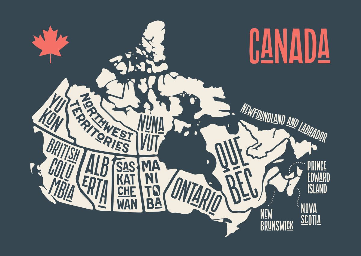 Map of Canadian provinces,