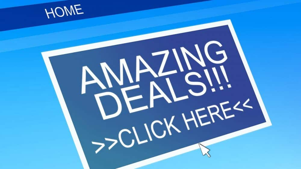 online image of amazing deals on blue background