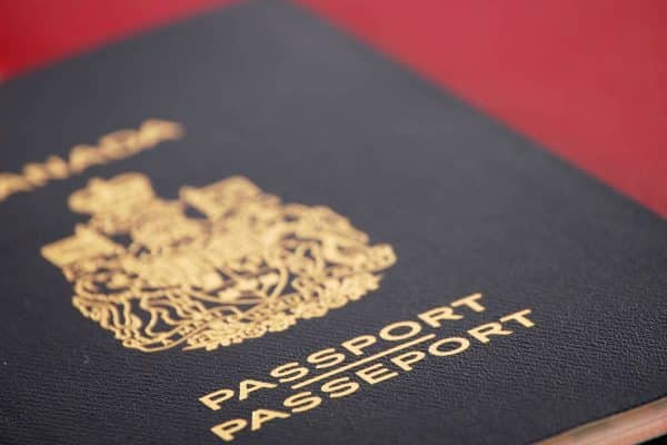 canadian passport red background