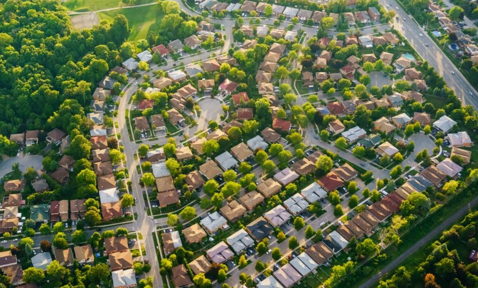 Canadian suburbs top view