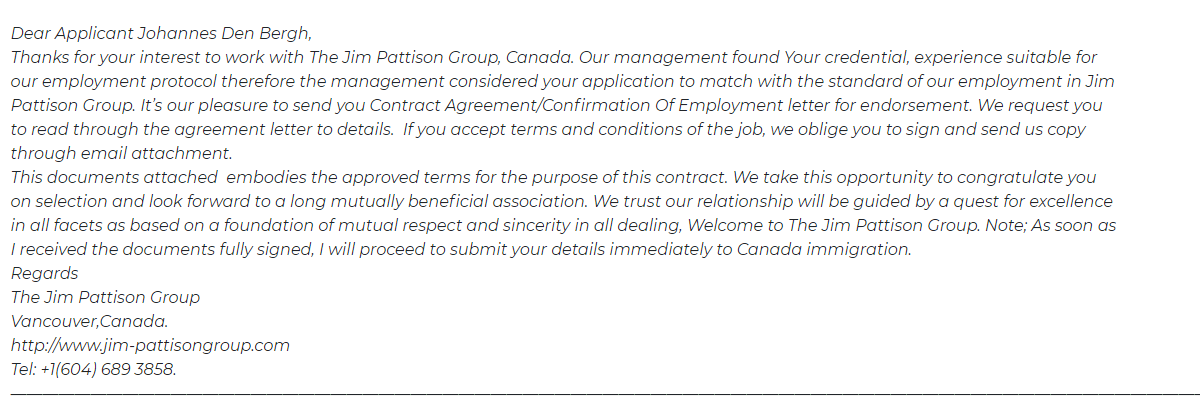Canadian Immigration Scam email