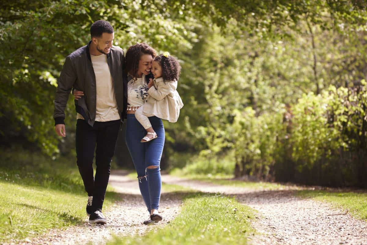 happy family walking down pathway in park | 10 reasons to Apply for a Canada Visa in 2020