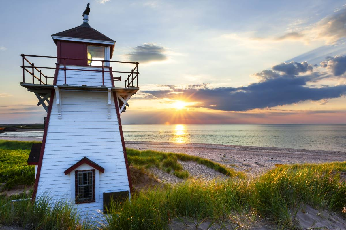 Covehead harbour lighthouse Prince Edward Island Canada at sunset | immigrate to Canada