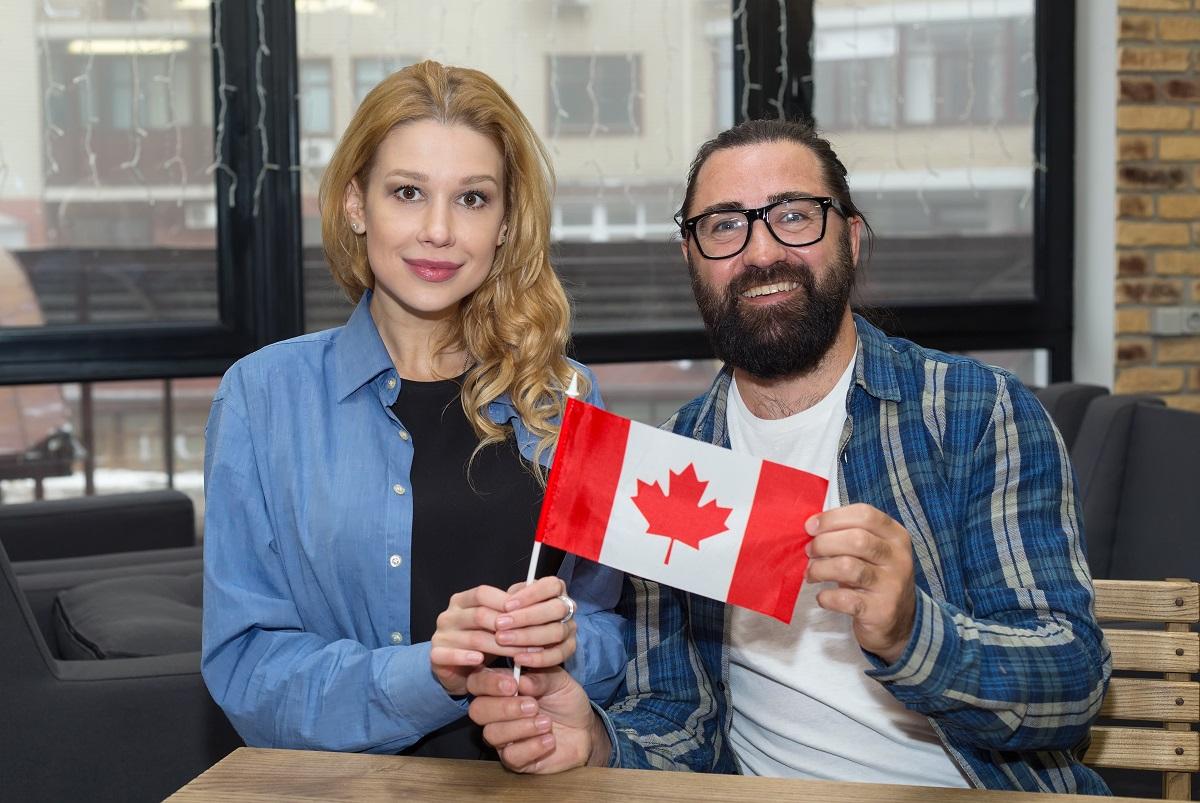 Happy immigrant couple in Canada