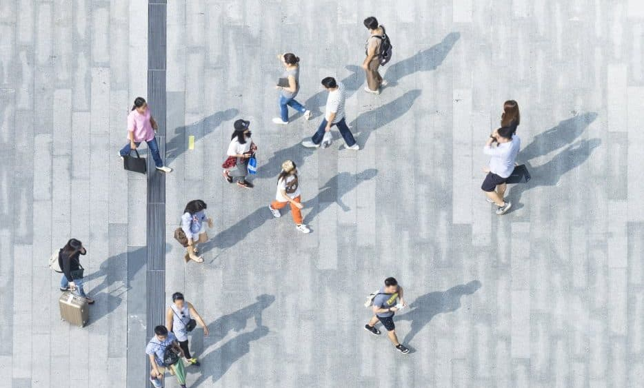 aerial view of people walking   Canada immigration