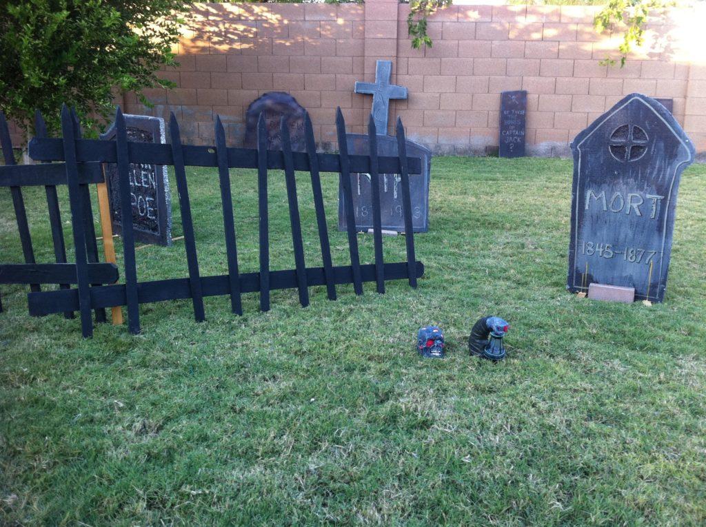 Halloween graveyard fence and headstones