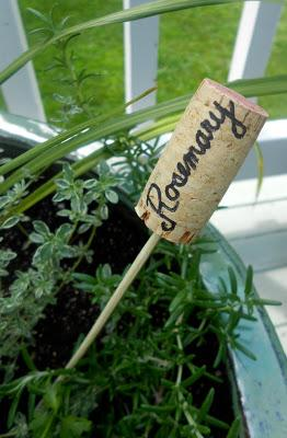 Cork herb garden marker