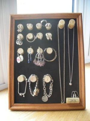 wine cork jewelry display