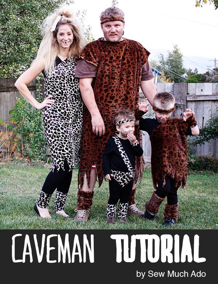 Cavemen family group costumes