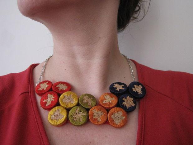 Embroidered cork jewelry