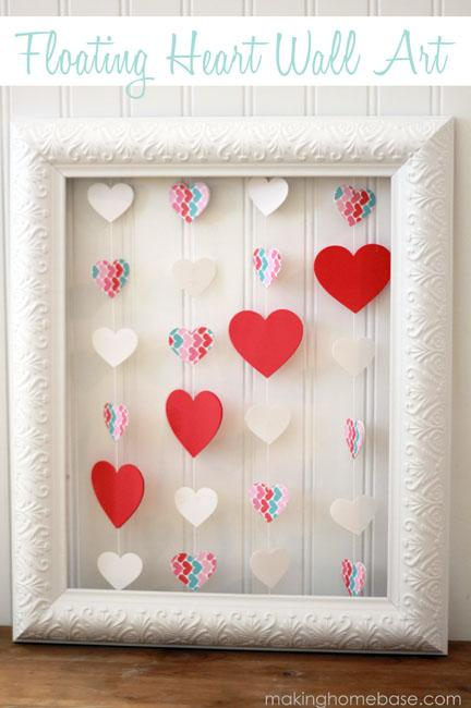 Floating heart wall art