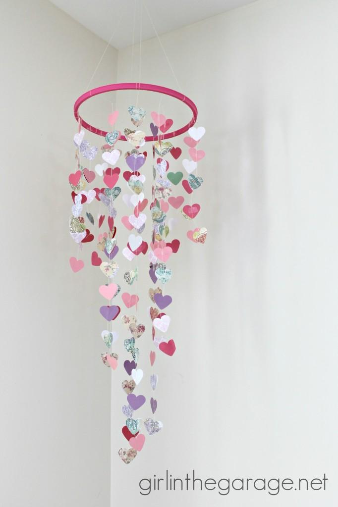 Hanging Hearts Mobile from Girls in the Garage