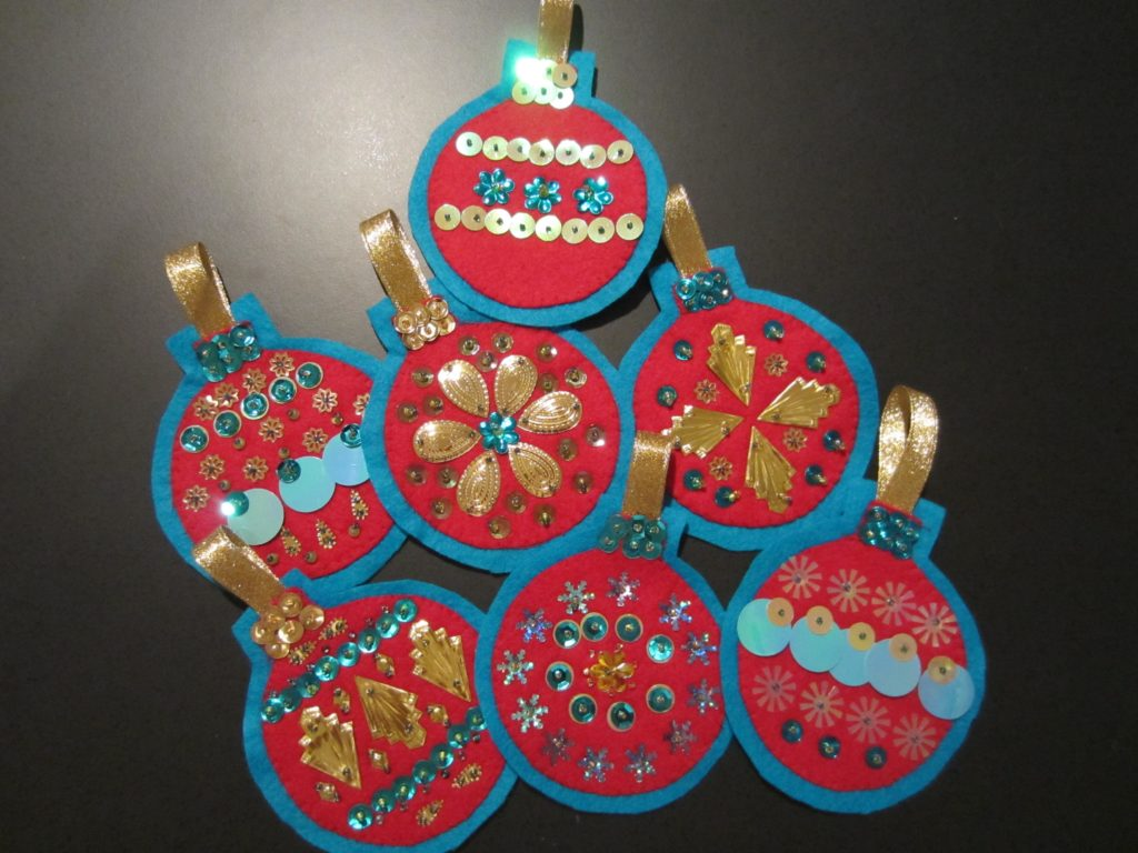 Felt ornaments with sequins and beads