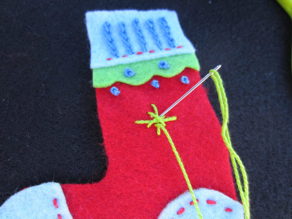 Adding some stars to the body of the stocking retro ornament