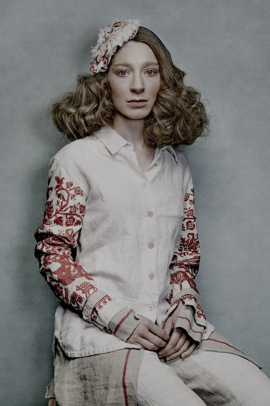 Fashion photo of shirt made from old embroidery pieces