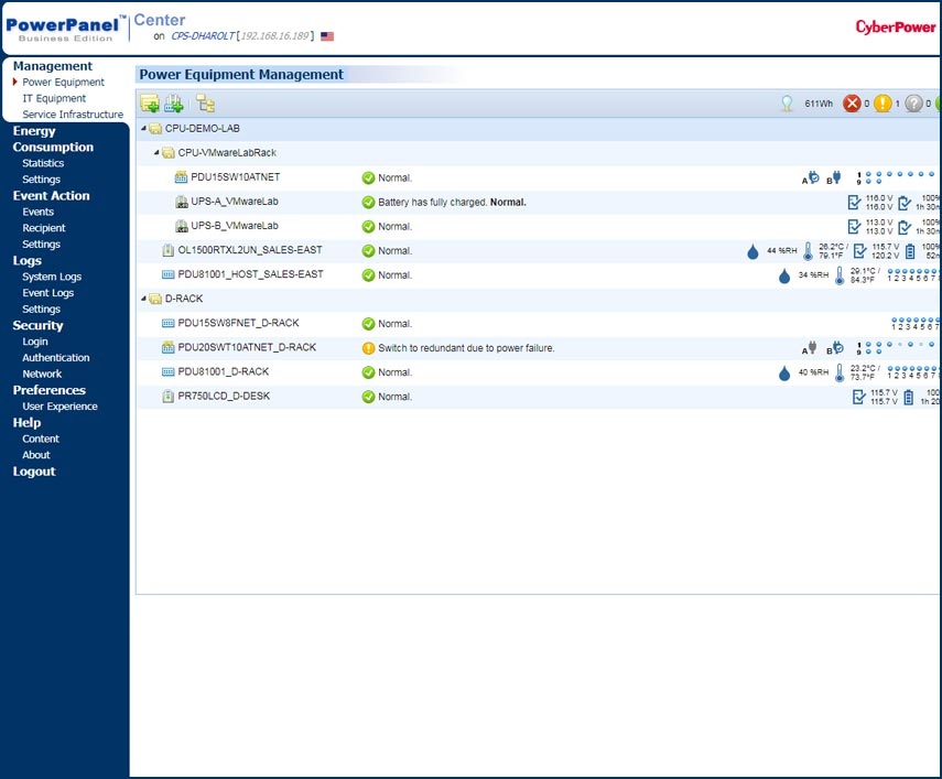power equipment management screenshot