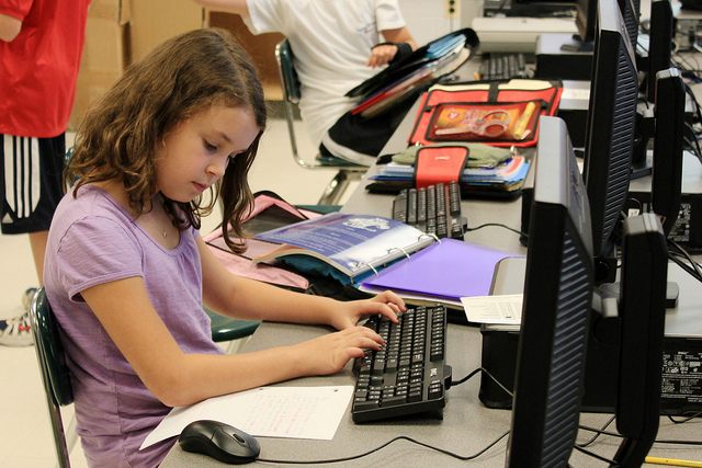 Students in universities can typically choose a track to learn about cybersecurity, but federal officials want the topic to be taught in K-12 schools as well. (Flickr/woodleywonderworks)