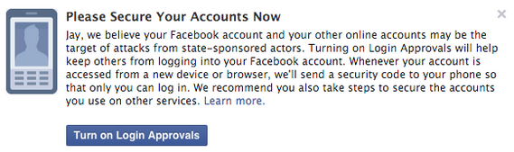 A warning Facebook users will see if the company believes a person has been attacked by a nation-state. (Facebook)