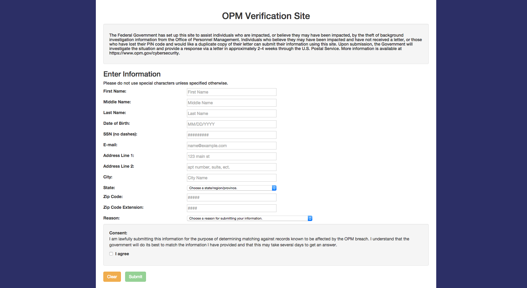 OPM form from the verification website.
