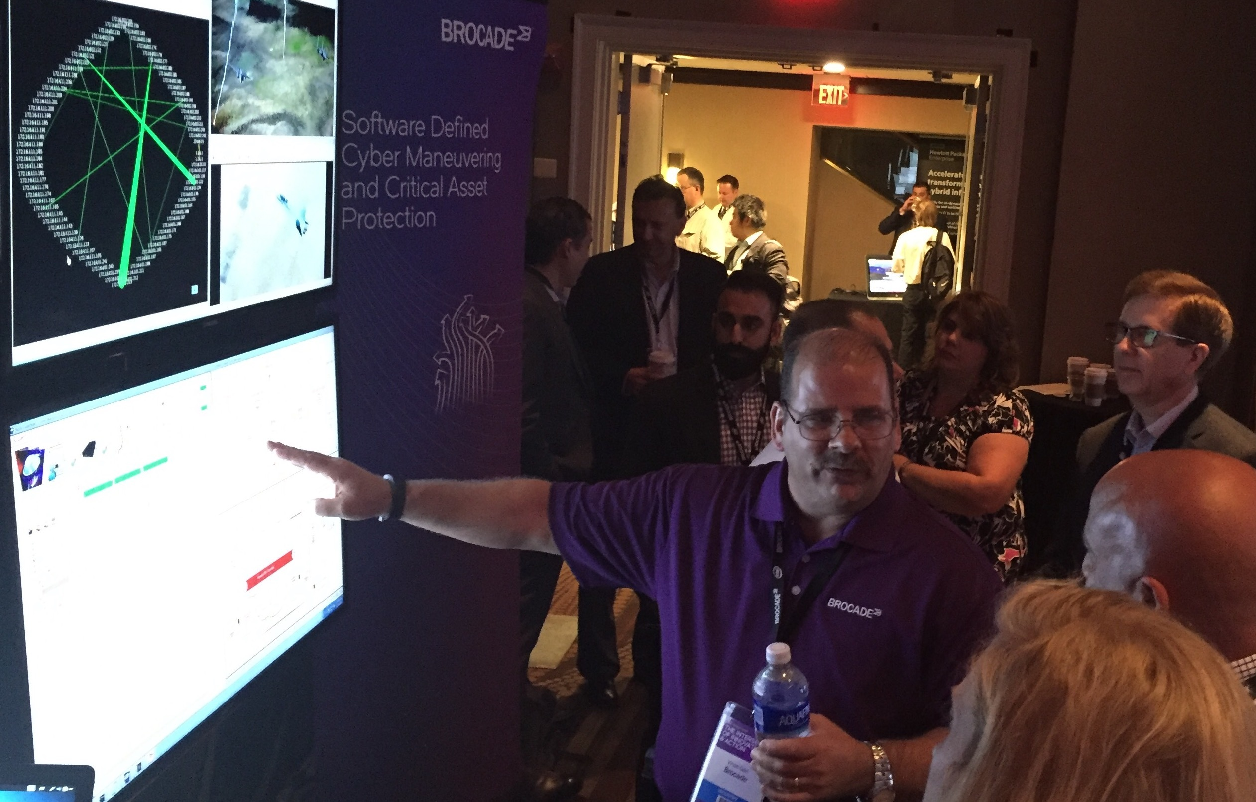 Brocade's Vince Garr demonstrates a prototype of the cyber maneuver engine at 2016 Federal Forum's Technology Pavillion