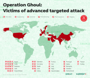 """Map showing the geographical distribution of targets of the """"Ghoul"""" hackers' group (Source: Kaspersky Labs)"""