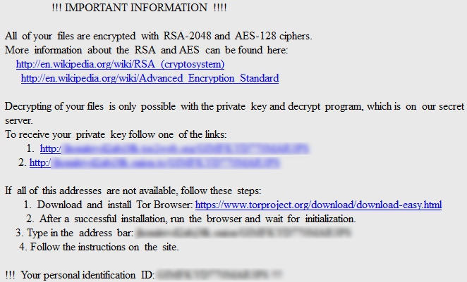 Locky ransomware prompt