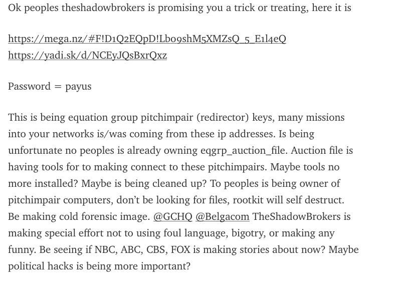 Original Shadow Brokers Medium post #5