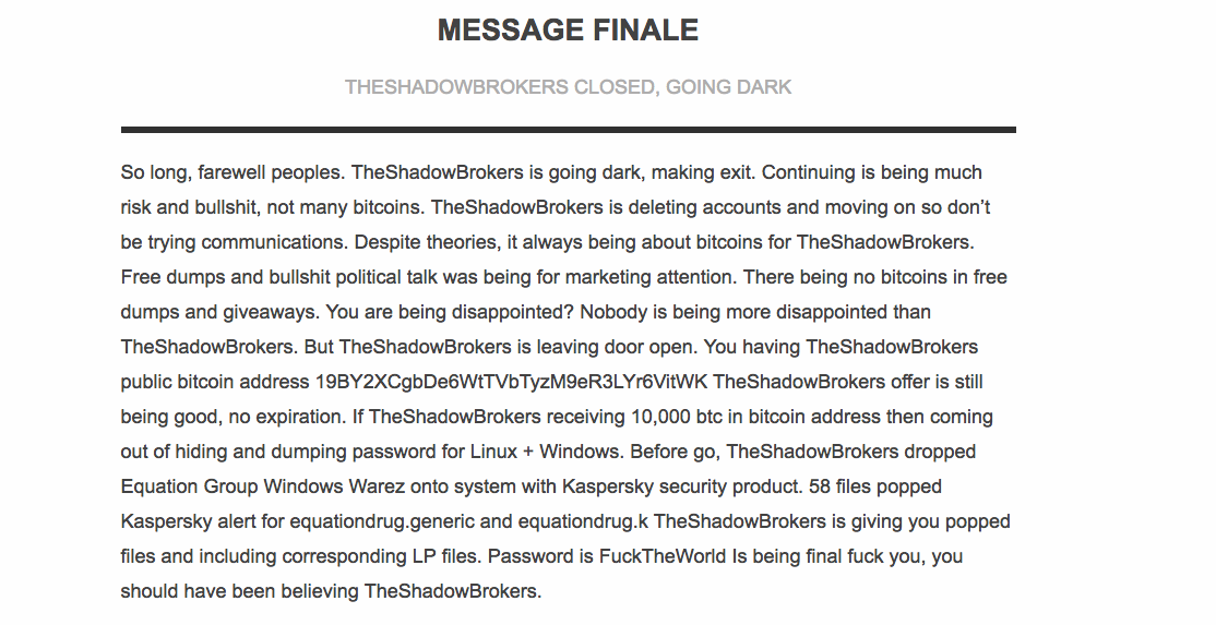 Screenshot of final message from SB