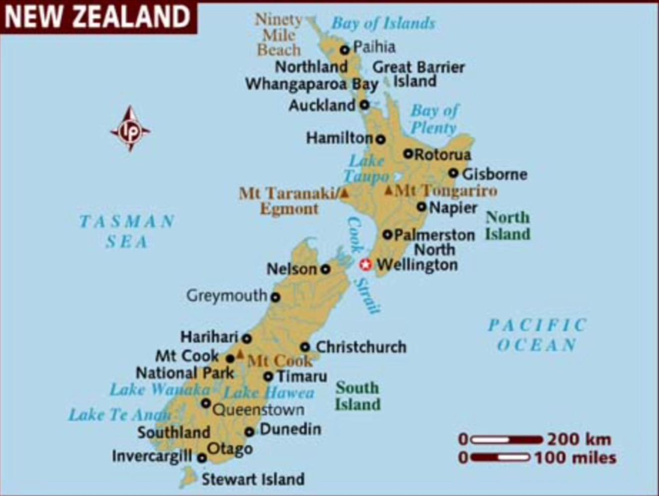 Map of New Zealand Serious cycling starts 11 Jan 17 New Zealand