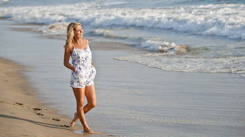 Denise Austin going for a five-minute walk on the beach