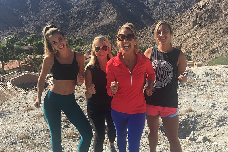 Denise Austin On Hike With Daughters and Friend