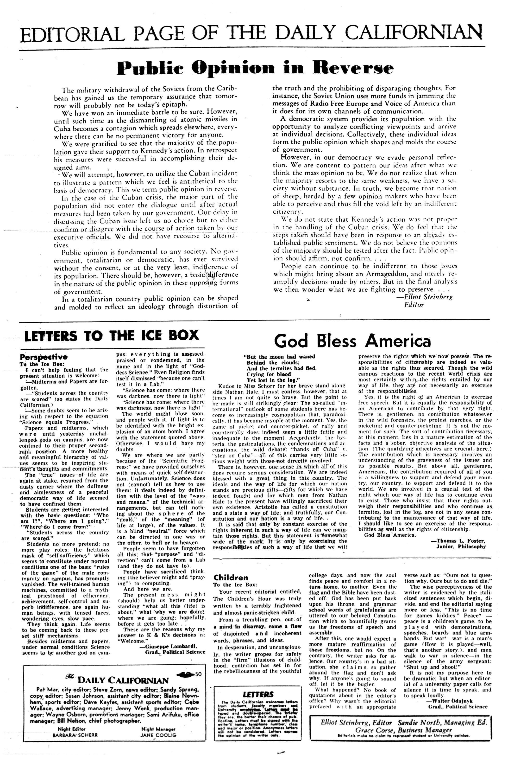 Oct  30, 1962 | The Daily Californian Archive