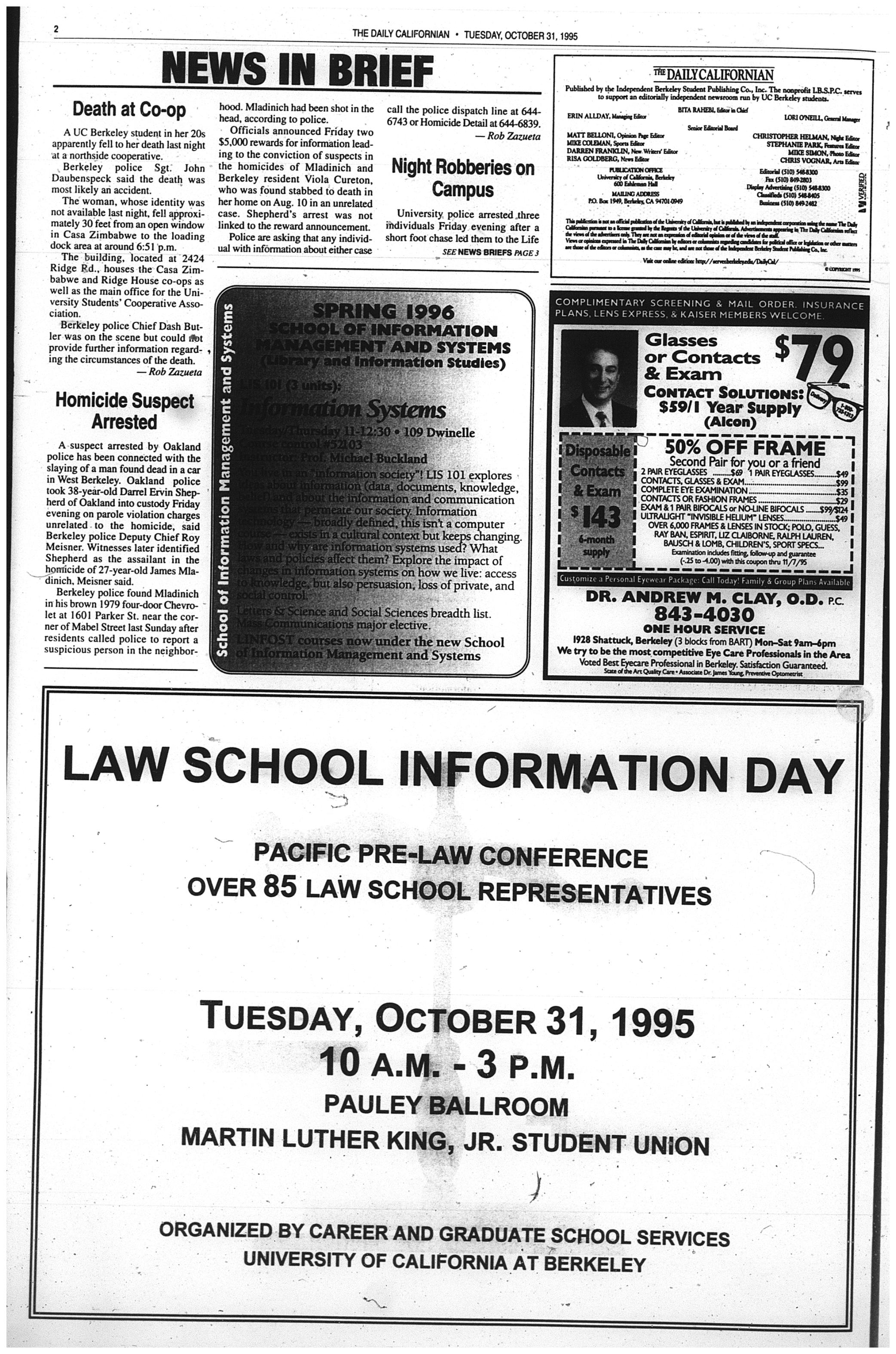 Oct  31, 1995 | The Daily Californian Archive