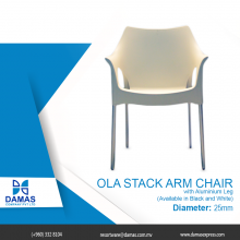 Ola Stack Arm Chair with aluminum leg