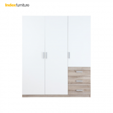 VINCE WARDROBE 3 DOORS - WHITE/NATURAL