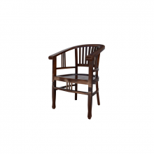Wooden Deck Chair with Round Back
