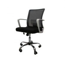 OFFICE CHAIR MESH 010-W  BLACK WITH WHITE ARM