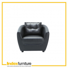 H-MAX PVC 1 Seater Sofa - Black
