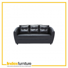 H-MAX PVC 3 Seater Sofa - Black