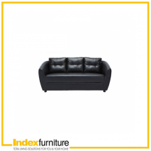 H-MAX PVC 3 Seater Sofa - Black