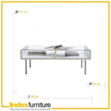 DUO Glass Coffee Table 80cm - White