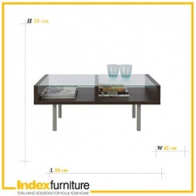 DUO Glass Coffee Table 80cm - BlackBrown