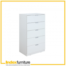 H-MAX Chest of 5 Drawers - White