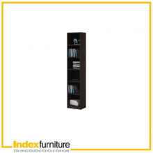 Livio High Bookcase 40cm - Brown- Black