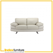 RICHMOND HALF LEATHER 2 SEATER SOFA - GREY