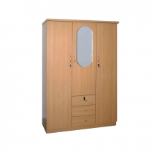 3 Door Wardrobe With Mirror - Beech