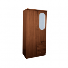 2 Door Wardrobe With Mirror - Teak