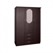 3 Door Wardrobe With Mirror - Wenge
